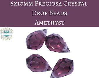 4 beads) 6x10mm Preciosa Crystal Drop Bead Pendants_Amethyst