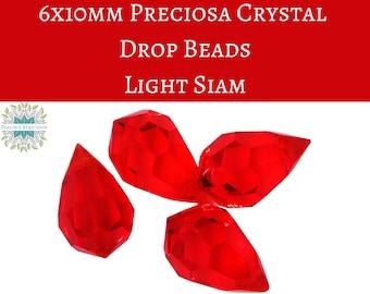 4 beads) 6x10mm Preciosa Crystal Drop Bead Pendants_Light Siam Red