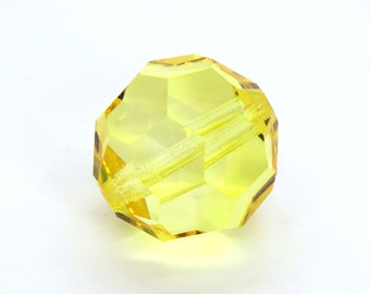 1 bead) 18mm Discontinued Preciosa Crystal Rounds_Sharp Yellow