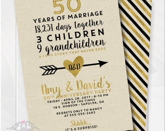 Anniversary invitations etsy golden wedding anniversary invitation 50th anniversary invitation fiftieth wedding invite birthday invite printable digital file 4001 stopboris