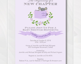 Library Baby Shower Invitation - Purple and Lavender - Story Book Shower - Stock the Library - Mouse - Printable - Digital File