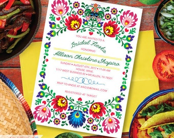 Mexican Bridal Shower Invitation, Fiesta Wedding Invitation, Mexican Engagement Party, Printed Fiesta Invitations FREE SHIPPING #1013