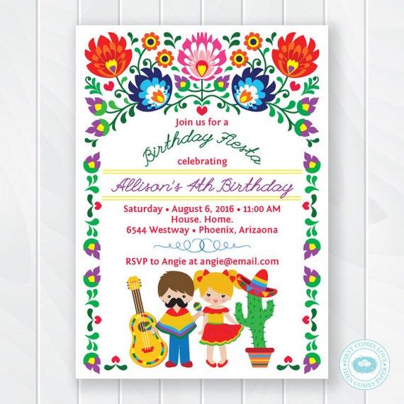 Kids Fiesta Birthday Invitation Childrens Mexican Fiesta Etsy