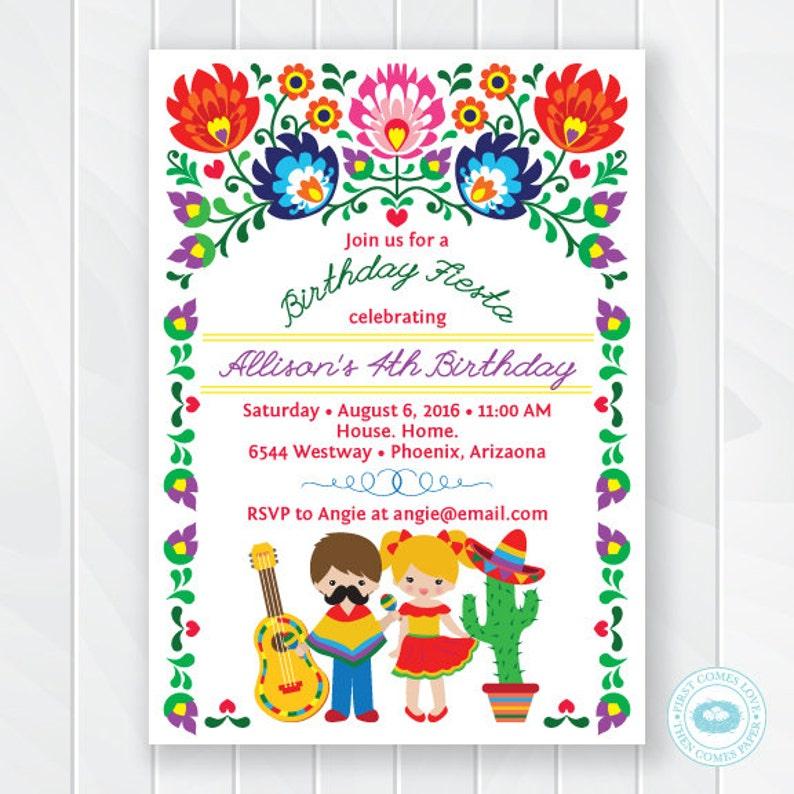 Kids Fiesta Birthday Invitation Children s Mexican Fiesta  00fcbfd33fb