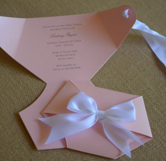 Pink And White Diaper Shaped Baby Shower Invitation Luxe Etsy