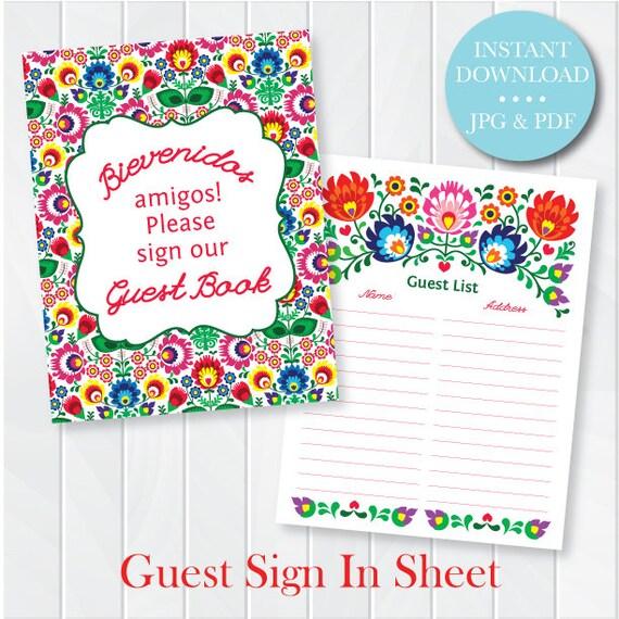 Fiesta Guest Sign In Sheet Printable Pdf Wedding Shower Etsy