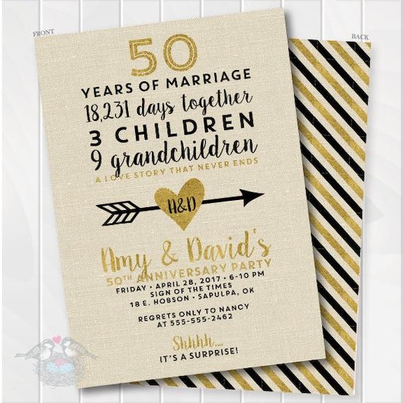 golden wedding anniversary invitation 50th anniversary etsy