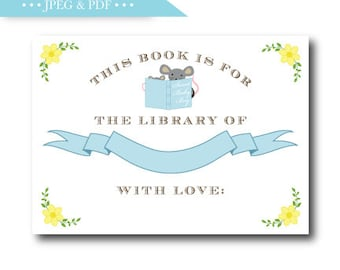 Blue Story Book Stock the Library Book Plate Sticker Label Boy, For the Library of Stickers, This Book Belongs to Sticker, INSTANT DOWNLOAD
