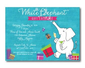 White Elephant Pinka nd Teal Chalkboard Christmas Party Invitation