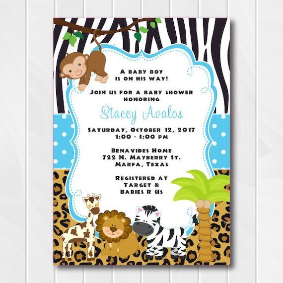 Jungle Safari Invitations For Boys Safari Baby Shower