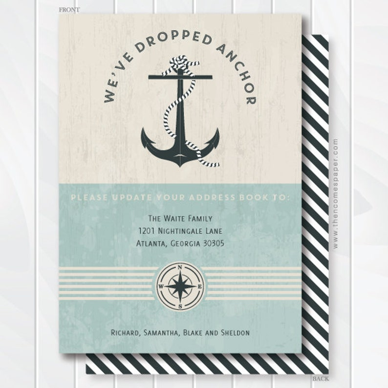 We've Dropped Anchor Moving Announcement - Address Change - Nautical Moving  Announcement - Housewarming Invitation - We've Set Sail #0601
