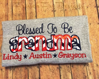 "Grandmother Sweatshirt for GRANDMA Customized and Personalized ""Blessed to be"""