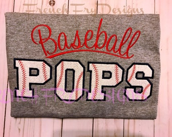 Baseball POPS Grandparent Short Sleeve Applique Shirt Customized