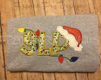 Speech Therapy Christmas Appliqued Speech Language Pathology T-Shirt Customized