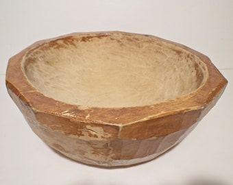 Vintage Hand Carved Wooden Dough Bowl
