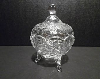 3 Footed Decorative Glass Candy Jar