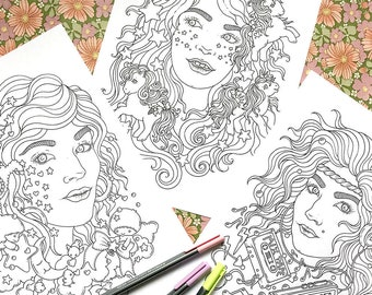 PDF  coloring pages, 80's dream, set of 3 pages