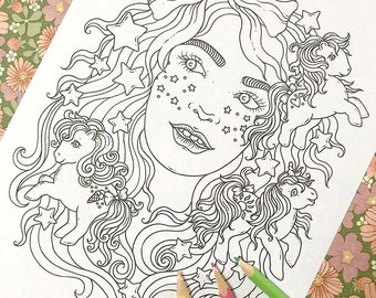 PDF  coloring page, 80's kid, 1 page