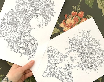 PDF coloring pages, Flower tattoos, set of 2 pages