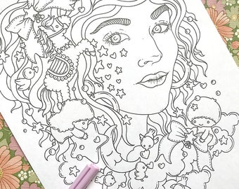 PDF  coloring page, Twin stars, 1 page