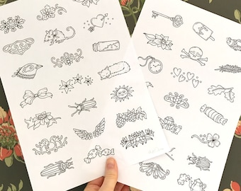 PDF  coloring pages, Practice sheets, set of 2 pages