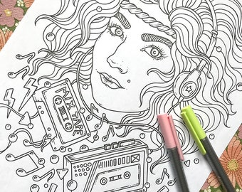 PDF  coloring page, Music lover, 1 page