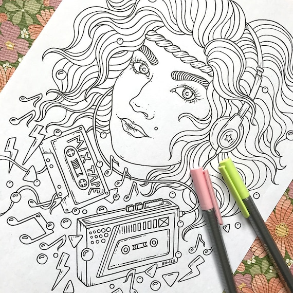 Pdf Coloring Page Music Lover 1 Page Etsy