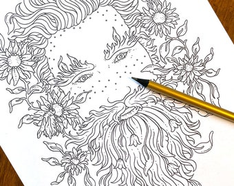 PDF  coloring page, Flower power, 1 page