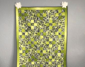 Baby Quilt Toddler Child Quilt Handmade Patchwork Green and Grey Fabric Crib Quilt, 41.5 x 55, lap quilt throw, handmade quilt, baby quilt