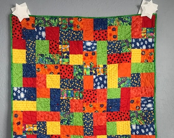 Baby Quilt Toddler Child Quilt Handmade Insects Patchwork Red Yellow Green Blue Fabric Crib Quilt, 40.5 x 47, lap quilt throw handmade quilt