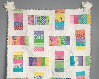Baby Quilt Toddler Child Quilt Handmade Moda Pink and Green Fabric Crib Quilt, 39 x 39, baby crib throw, handmade quilt