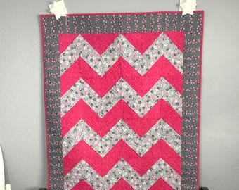 Baby Quilt Toddler Child Quilt Handmade Chevron Pink and Grey Floral Fabric Crib Quilt, 45 x 57, lap quilt throw, handmade quilt