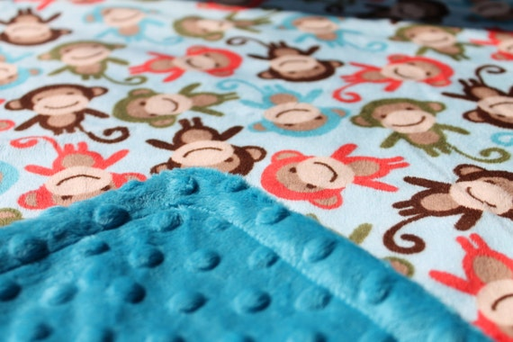 Minky Blanket Teal Grey and White Chevron Print Minky with Grey Dimple Dot Minky Backing Perfect Size for a Baby or Toddler Turquoise