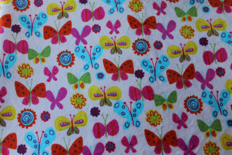 Perfect Size a Toddler or Child 36 x 42 Minky Blanket Multi Colored Butterfly Print Minky with Hot Pink Dimple Dot Minky Backing