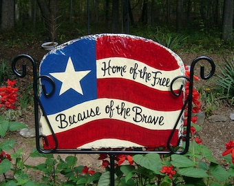 Patriotic American Flag Slate Welcome Sign Hand Painted Personalized Garden Yard Art Marine Corps Navy Army Coast Guard Air Force