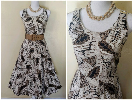 SeaShell 50s tiki novelty print dress