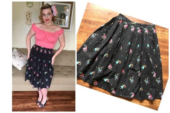 1950s Crisp Cotton Gardening Novelty Print skirt