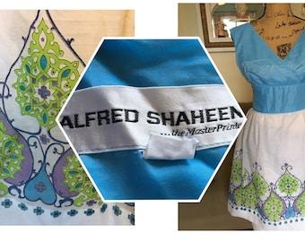 Late 60s Alfred Shaheen Border Print Surplice bust Sundress S