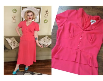 1940s-Style Peplum Plus Size Dress