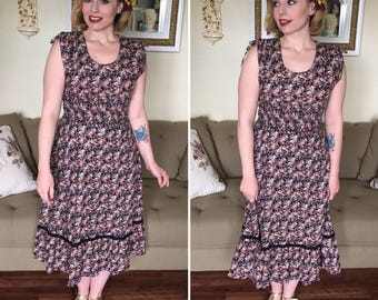 70s peasant style floral festival dress