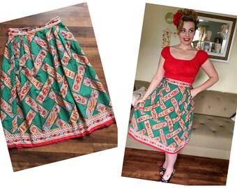 Ethnic vintage 50s cotton novelty print skirt