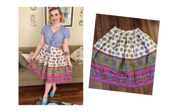 1950s floral border print cotton skirt