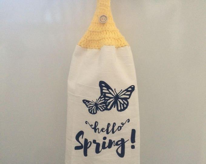 Crochet Towel, Kitchen Towel, Hanging Kitchen Towel, Yellow Kitchen Towel, Hanging Towel, Crochet Towel Topper