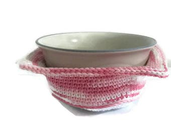 Bowl Cozy, Crochet Bowl Cozy, Soup Bowl Cozy, Bowl Cover, Bowl Cozy for Microwave, Ice Cream Bowl Cozy, Pink and White