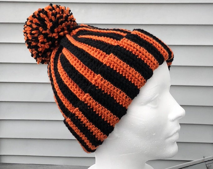 Orange and Black Beanie, Black and Orange Hat, Crochet Hat, Crochet Beanie, FREE SHIPPING