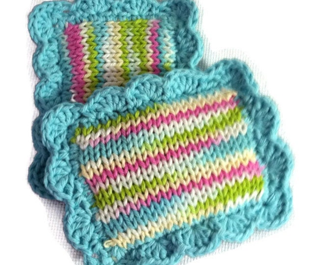 Knitted Scrubby / Knit Pot Scrubber / Knit Dish Scrubbies / Knitted Dishcloth / Sponge / Nylon Scrubbies / Scrubber / Lava Lamp
