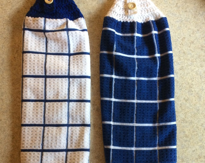 Hanging Kitchen Towel, Kitchen Towel, Hanging Towel, Tea Towels, Set of 2 Blue and White