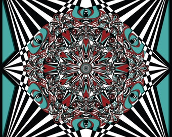 Teal and Red Mandala, Black and White Art, Geometric Art, Starburst Art, Kaleidoscope Drawing, Meditation Art, Mandala Drawing,