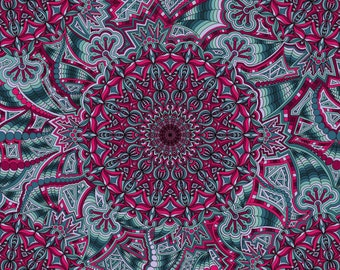 Kaleidoscope Eye - Magenta and Teal Geometric 12 x 12 inch square art print