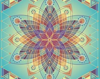 Awakening Mandala, geometric print, mandala art, flower, meditation art, peaceful, mandala print, geometric art, rainbow, spiritual art,